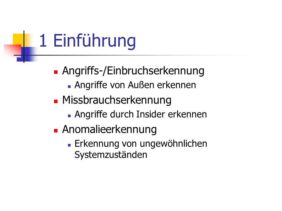 1 Einführung Angriffs-/Einbruchserkennung Missbrauchserkennung