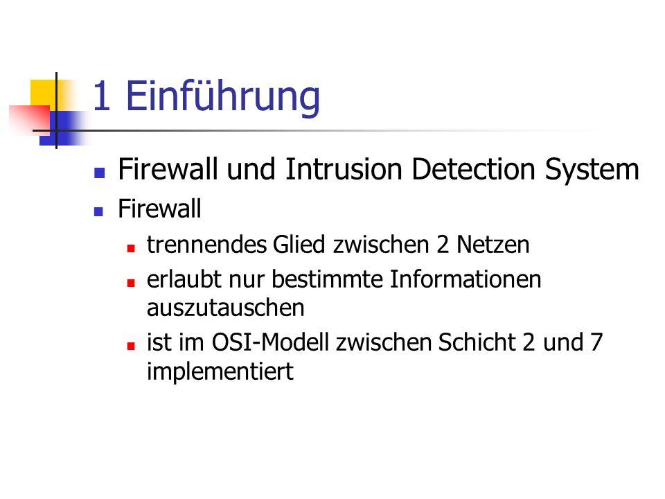 1 Einführung Firewall und Intrusion Detection System Firewall
