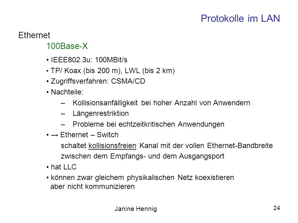Protokolle im LAN Ethernet 100Base-X IEEE802.3u: 100MBit/s