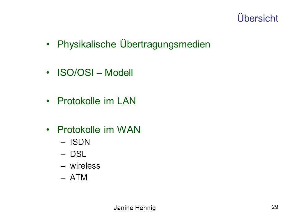 Physikalische Übertragungsmedien ISO/OSI – Modell Protokolle im LAN