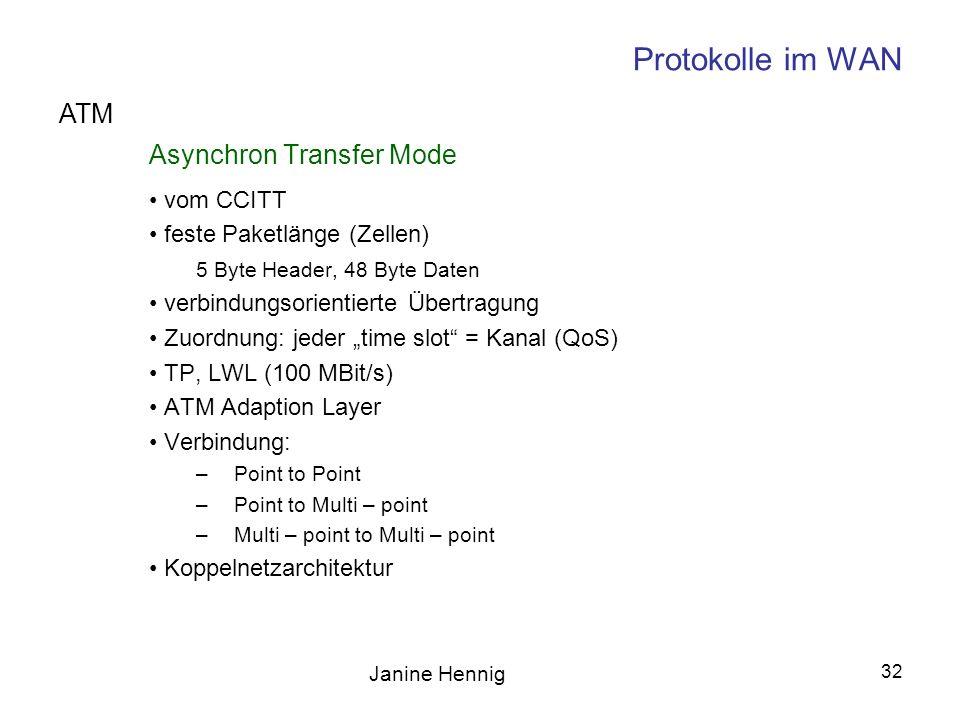 Protokolle im WAN ATM Asynchron Transfer Mode vom CCITT