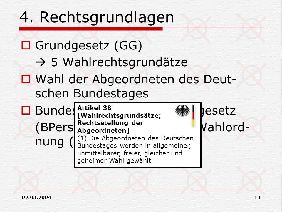 4. Rechtsgrundlagen Grundgesetz (GG)  5 Wahlrechtsgrundätze