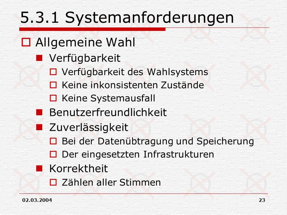 5.3.1 Systemanforderungen Allgemeine Wahl Verfügbarkeit