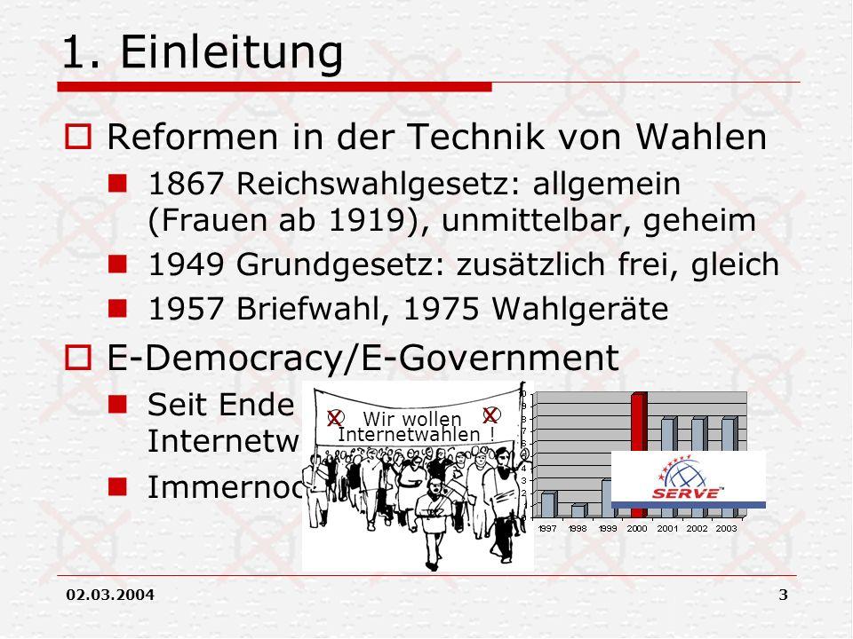 1. Einleitung Reformen in der Technik von Wahlen