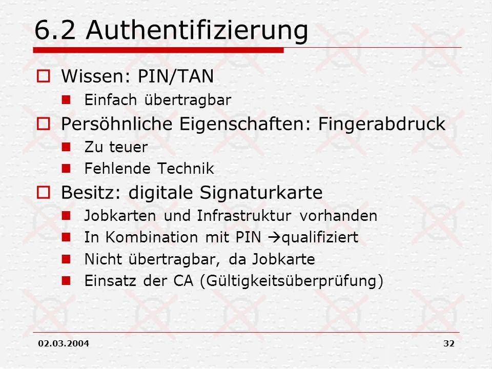 6.2 Authentifizierung Wissen: PIN/TAN