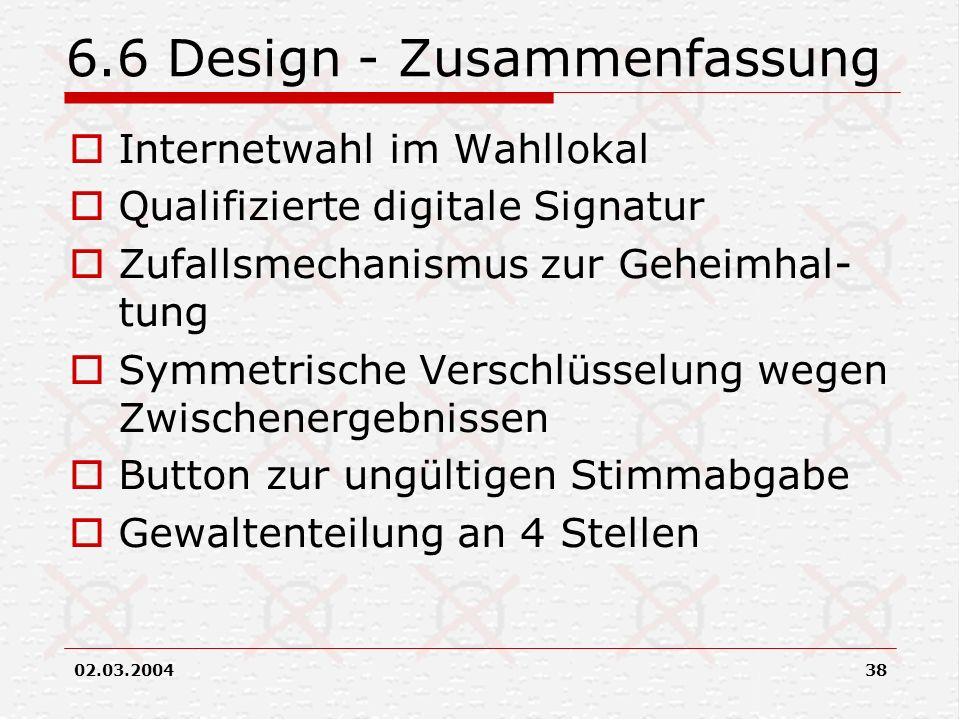 6.6 Design - Zusammenfassung