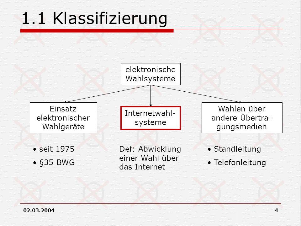 1.1 Klassifizierung elektronische Wahlsysteme