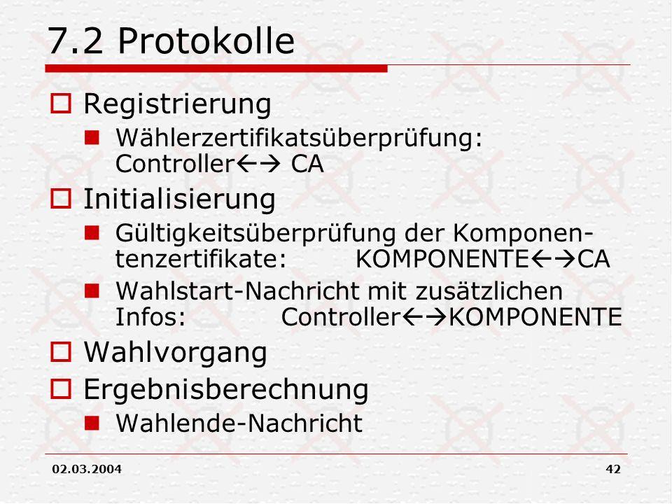 7.2 Protokolle Registrierung Initialisierung Wahlvorgang