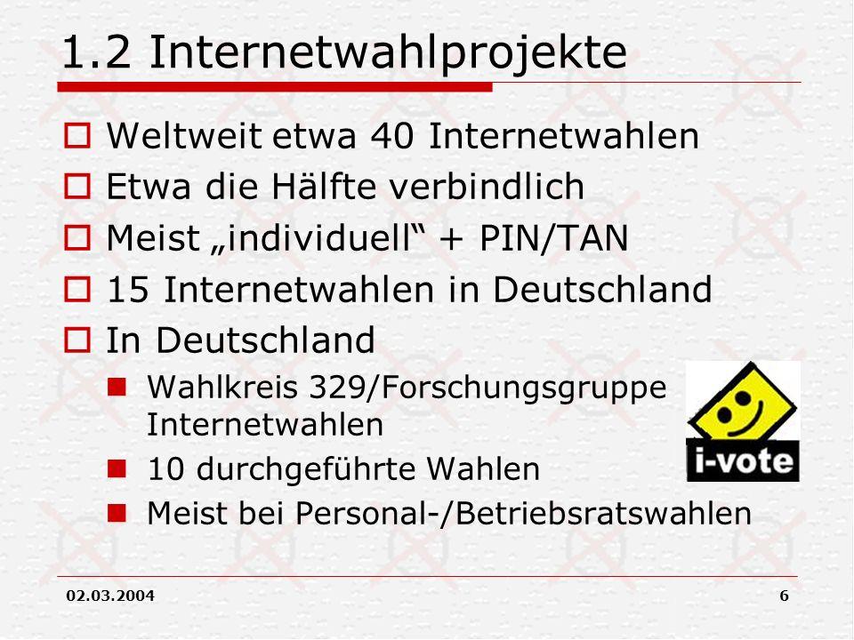 1.2 Internetwahlprojekte