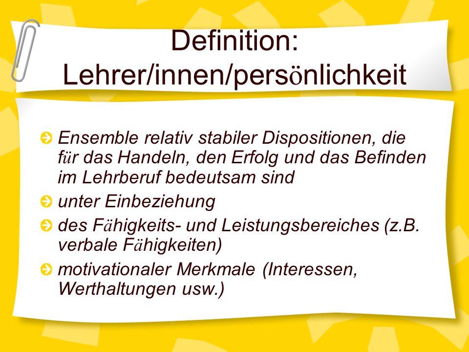 Definition: Lehrer/innen/persönlichkeit