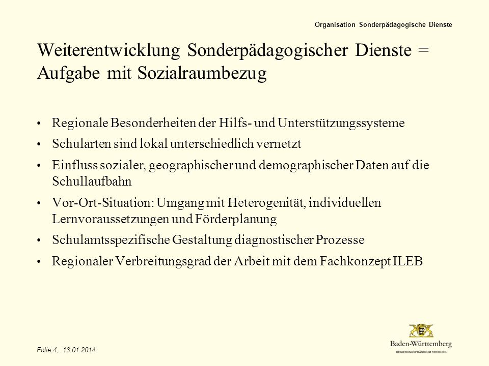 Titel des Vortrags Organisation Sonderpädagogische Dienste. Weiterentwicklung Sonderpädagogischer Dienste = Aufgabe mit Sozialraumbezug.