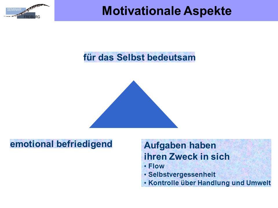 Motivationale Aspekte für das Selbst bedeutsam emotional befriedigend