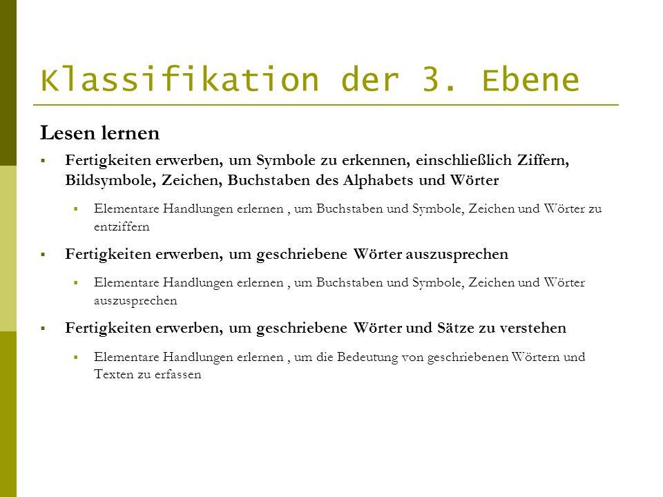 Klassifikation der 3. Ebene