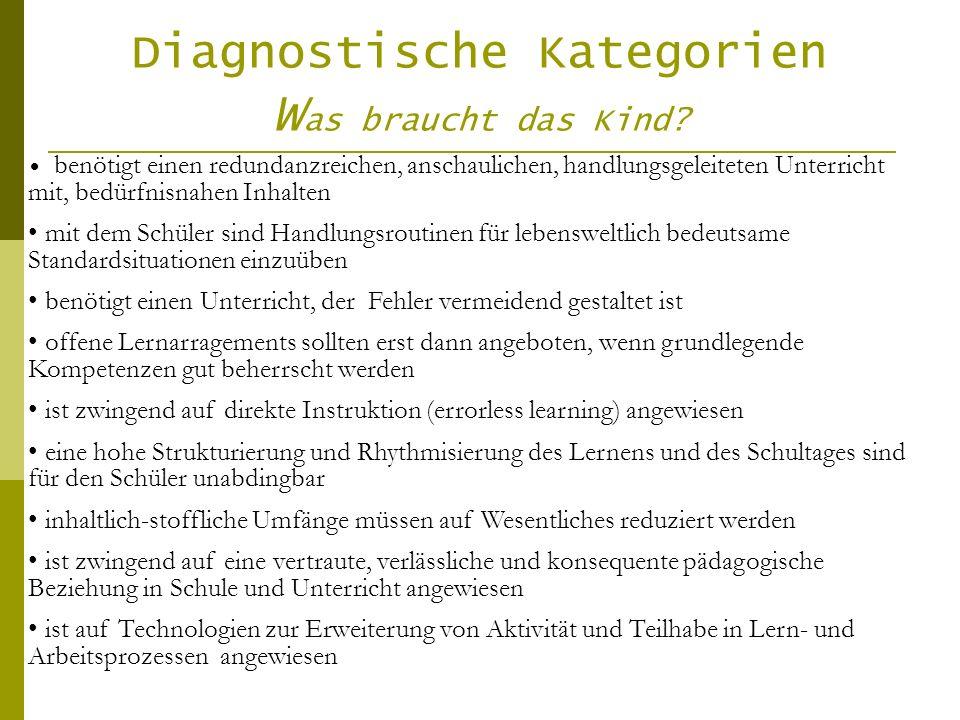 Diagnostische Kategorien Was braucht das Kind