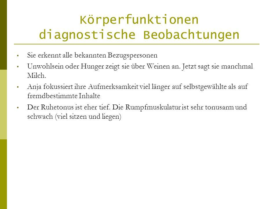 Körperfunktionen diagnostische Beobachtungen