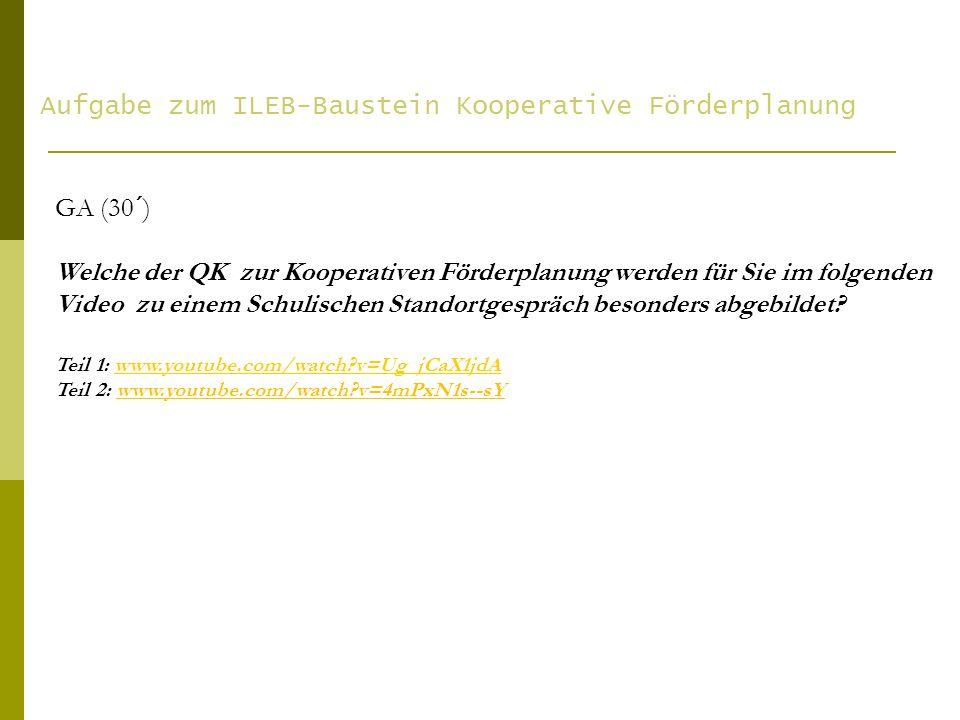 Aufgabe zum ILEB-Baustein Kooperative Förderplanung
