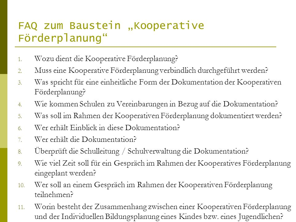 "FAQ zum Baustein ""Kooperative Förderplanung"