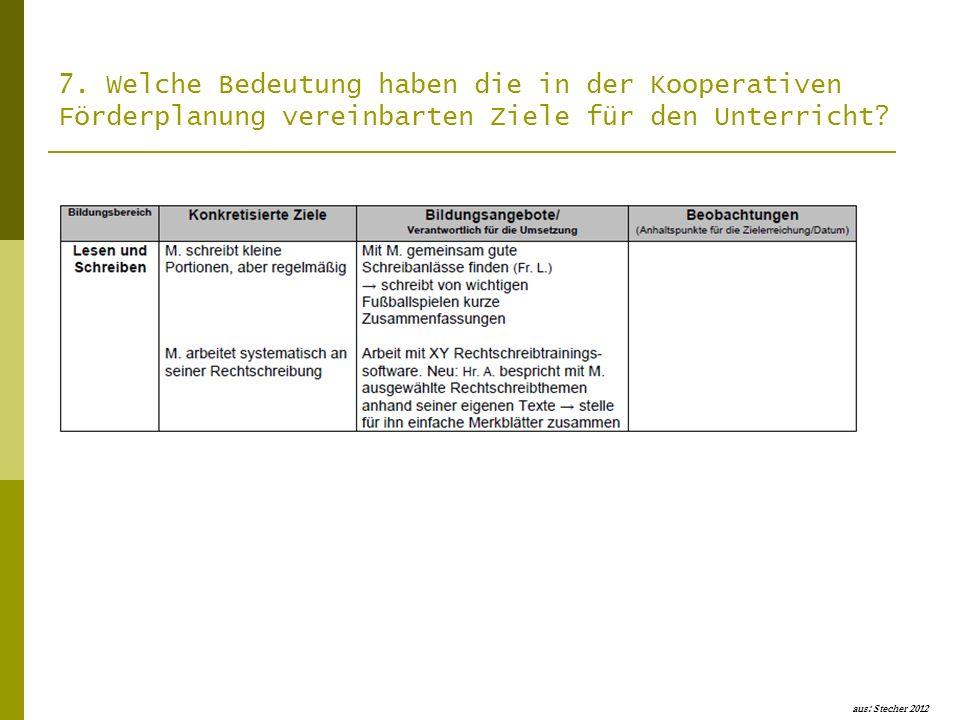 7. Welche Bedeutung haben die in der Kooperativen Förderplanung vereinbarten Ziele für den Unterricht