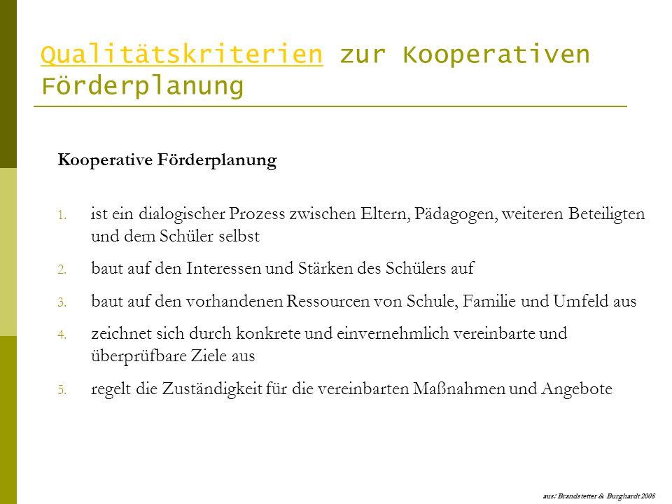 Qualitätskriterien zur Kooperativen Förderplanung