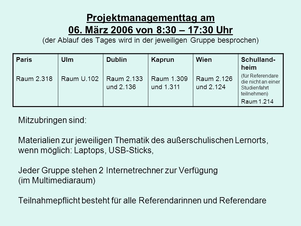 Projektmanagementtag am 06