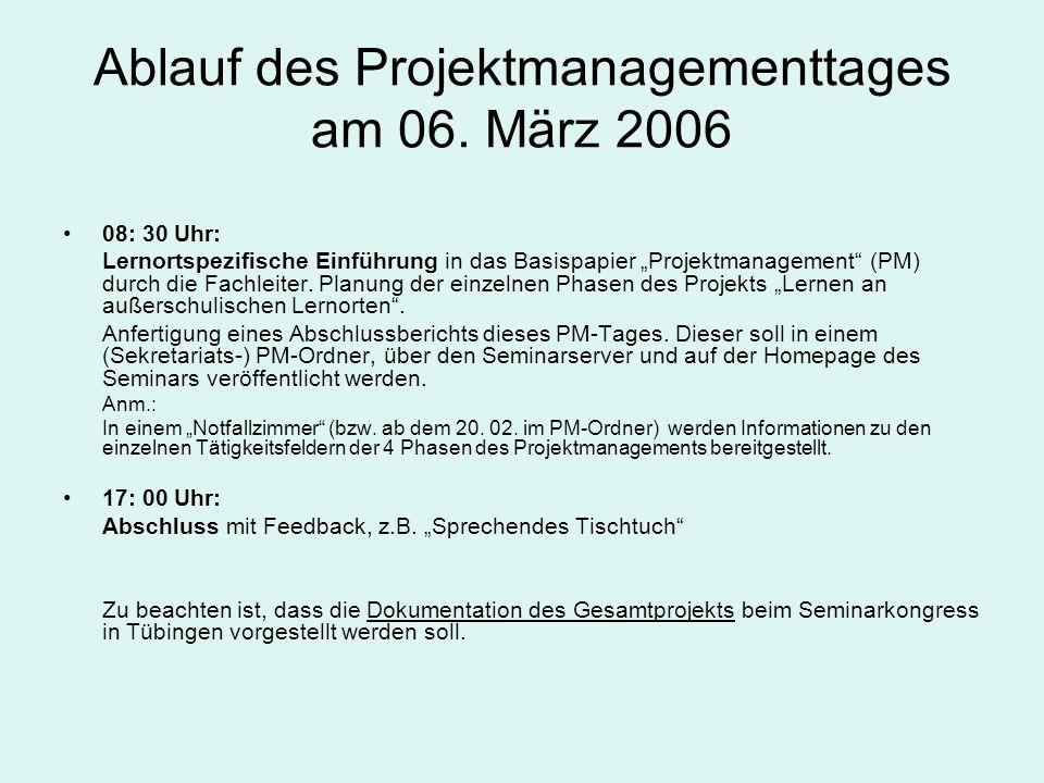 Ablauf des Projektmanagementtages am 06. März 2006