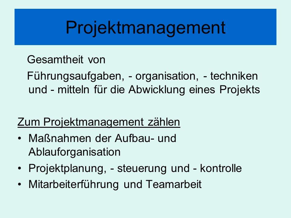 Projektmanagement Gesamtheit von