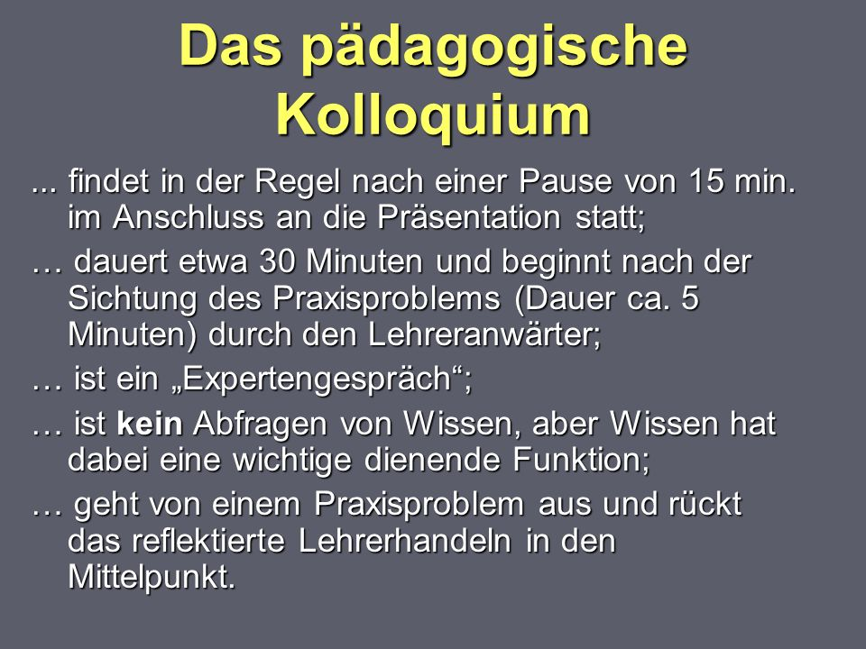 Das pädagogische Kolloquium