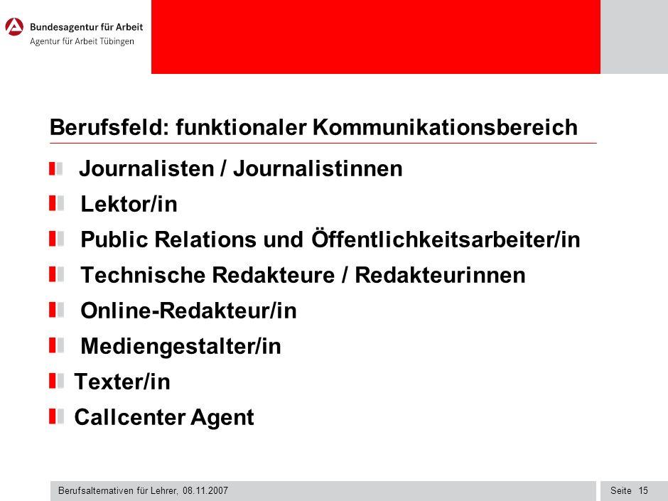 Berufsfeld: funktionaler Kommunikationsbereich
