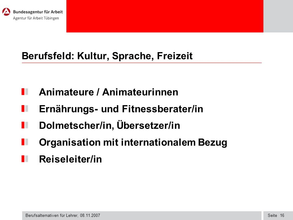 Berufsfeld: Kultur, Sprache, Freizeit