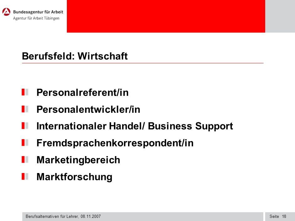 Berufsfeld: Wirtschaft