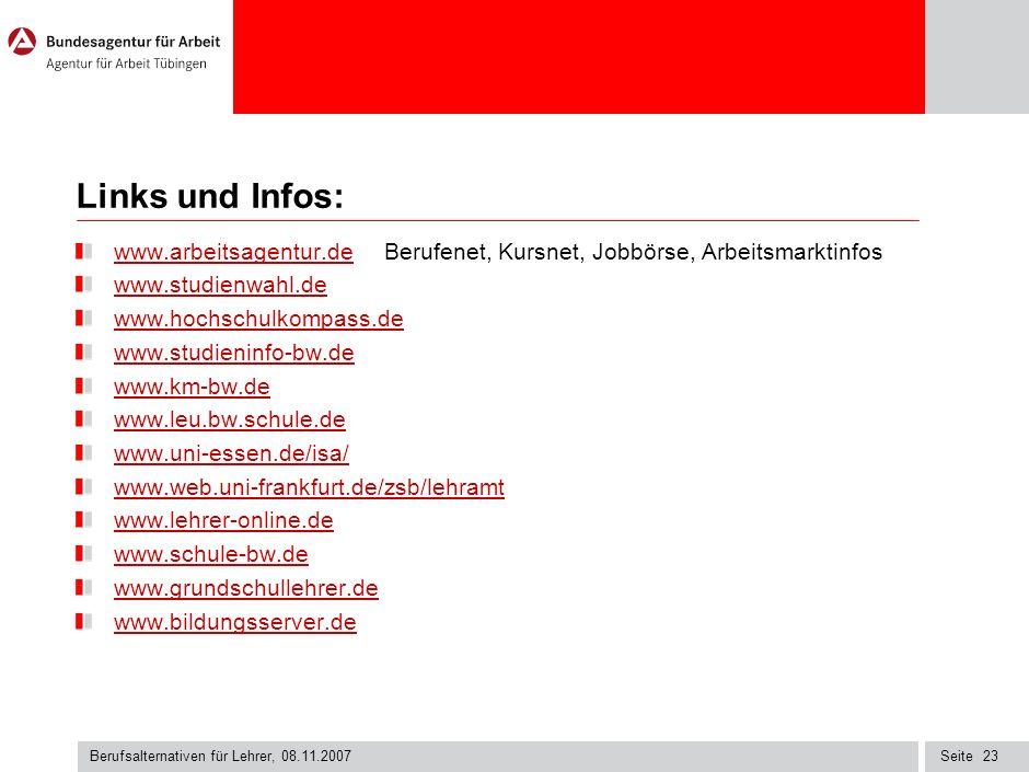 Links und Infos: www.arbeitsagentur.de Berufenet, Kursnet, Jobbörse, Arbeitsmarktinfos. www.studienwahl.de.