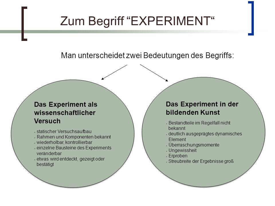 Zum Begriff EXPERIMENT