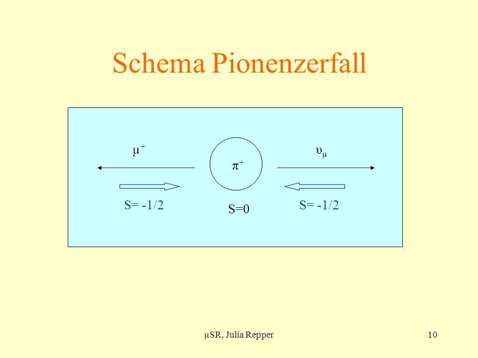 Schema Pionenzerfall µ+ υµ π+ S=0 S= -1/2 µSR, Julia Repper