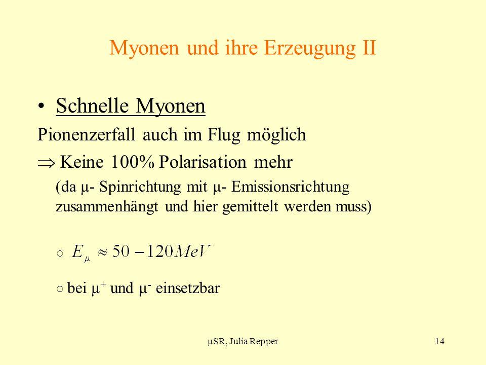 Myonen und ihre Erzeugung II