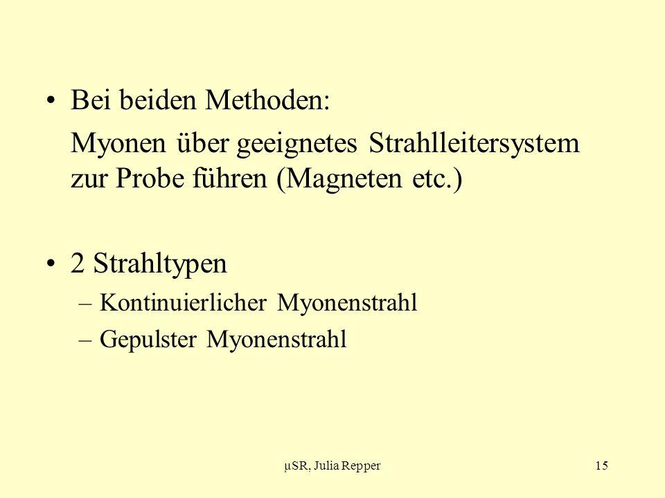 Bei beiden Methoden: Myonen über geeignetes Strahlleitersystem zur Probe führen (Magneten etc.) 2 Strahltypen.