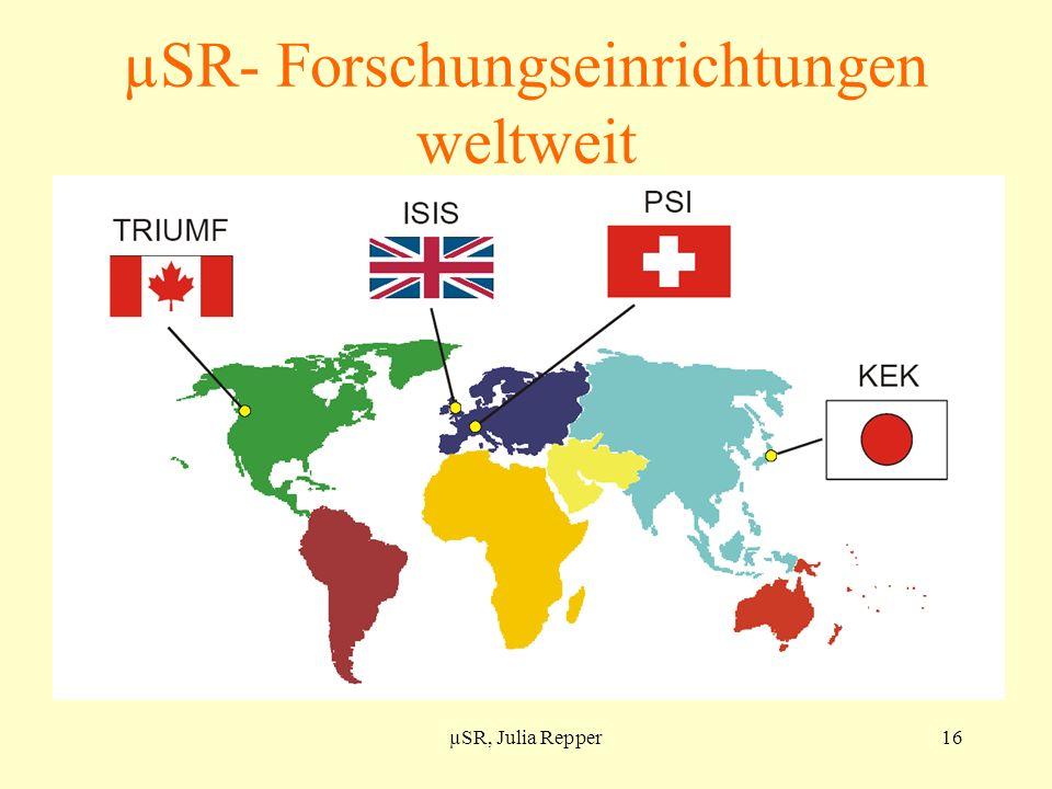 µSR- Forschungseinrichtungen weltweit