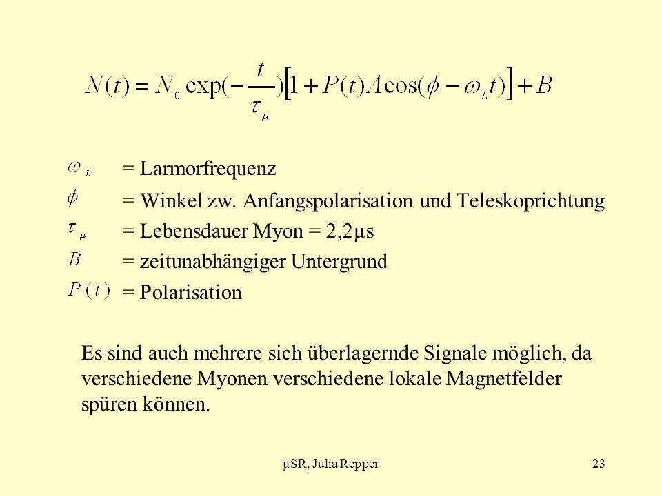 = Larmorfrequenz = Winkel zw. Anfangspolarisation und Teleskoprichtung