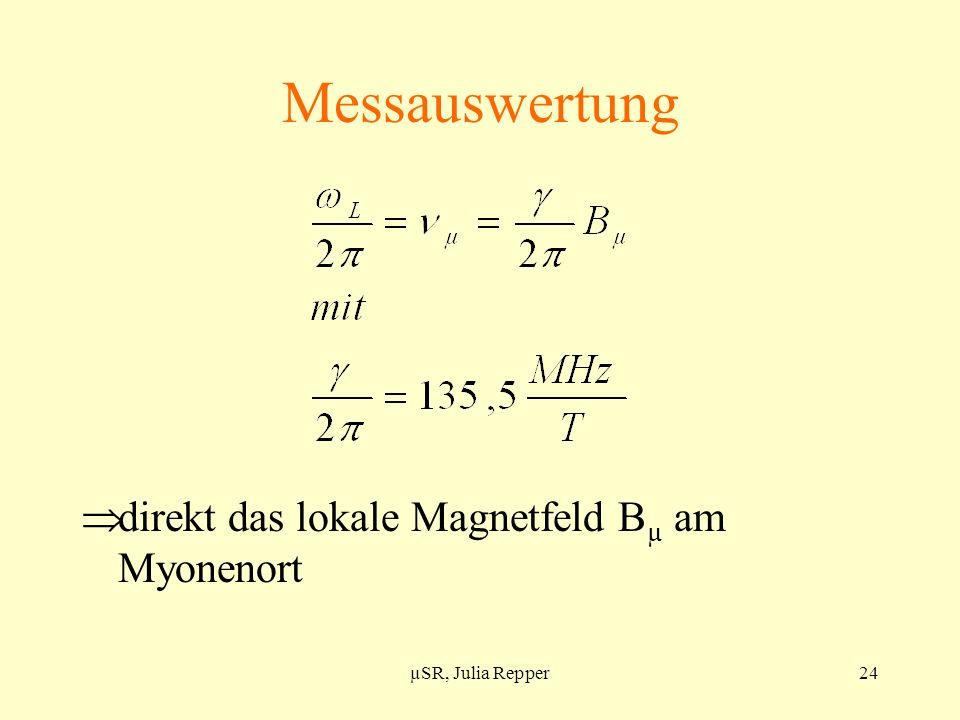 Messauswertung direkt das lokale Magnetfeld Bµ am Myonenort