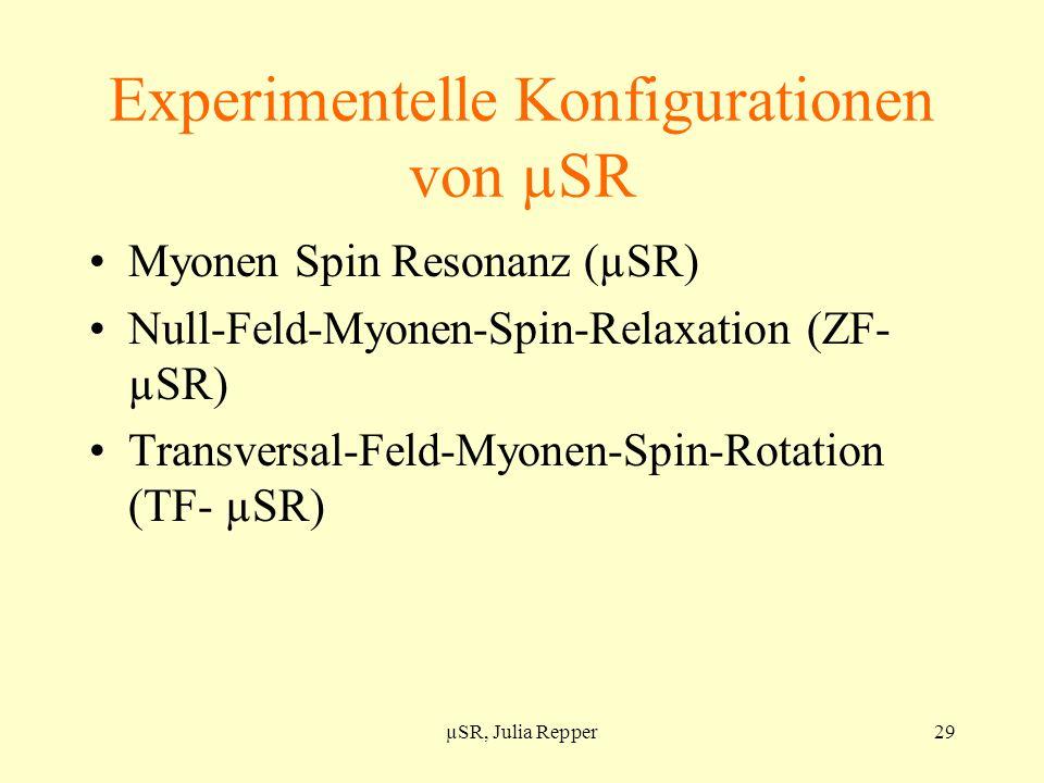 Experimentelle Konfigurationen von µSR