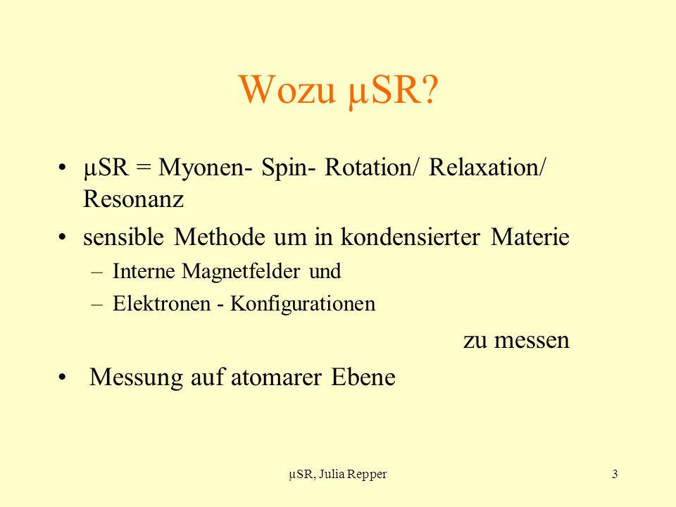 Wozu µSR µSR = Myonen- Spin- Rotation/ Relaxation/ Resonanz