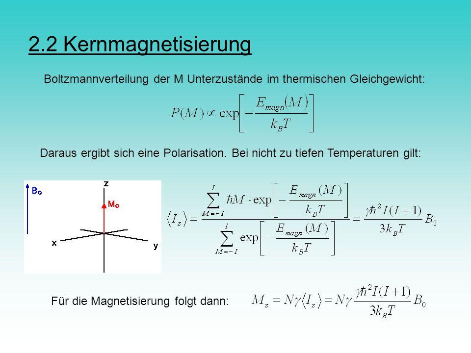 2.2 Kernmagnetisierung Boltzmannverteilung der M Unterzustände im thermischen Gleichgewicht: