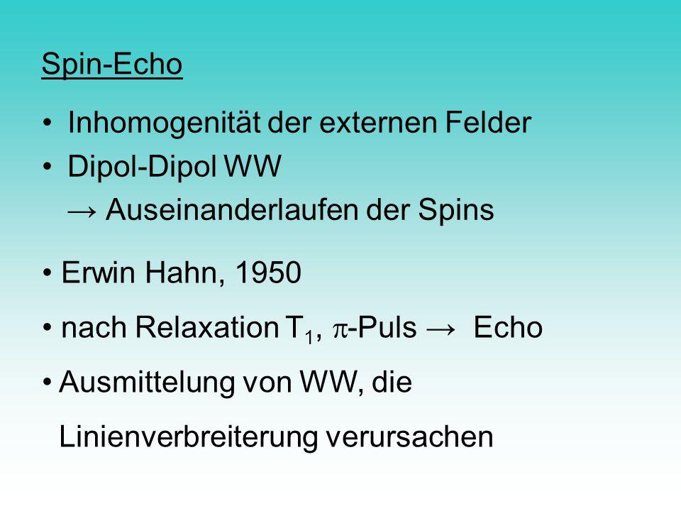 Spin-Echo Inhomogenität der externen Felder. Dipol-Dipol WW. → Auseinanderlaufen der Spins. Erwin Hahn, 1950.