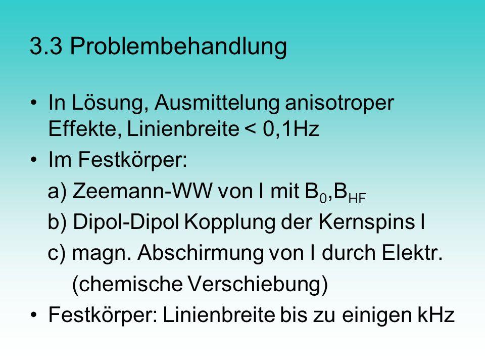3.3 Problembehandlung In Lösung, Ausmittelung anisotroper Effekte, Linienbreite < 0,1Hz. Im Festkörper: