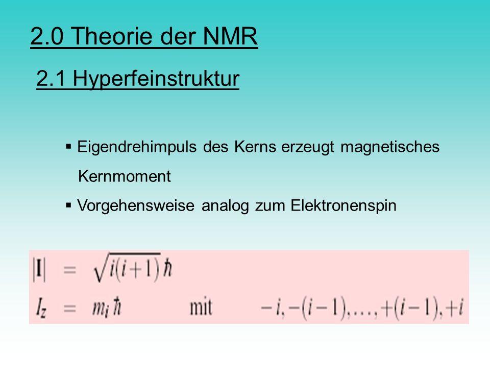 2.0 Theorie der NMR 2.1 Hyperfeinstruktur