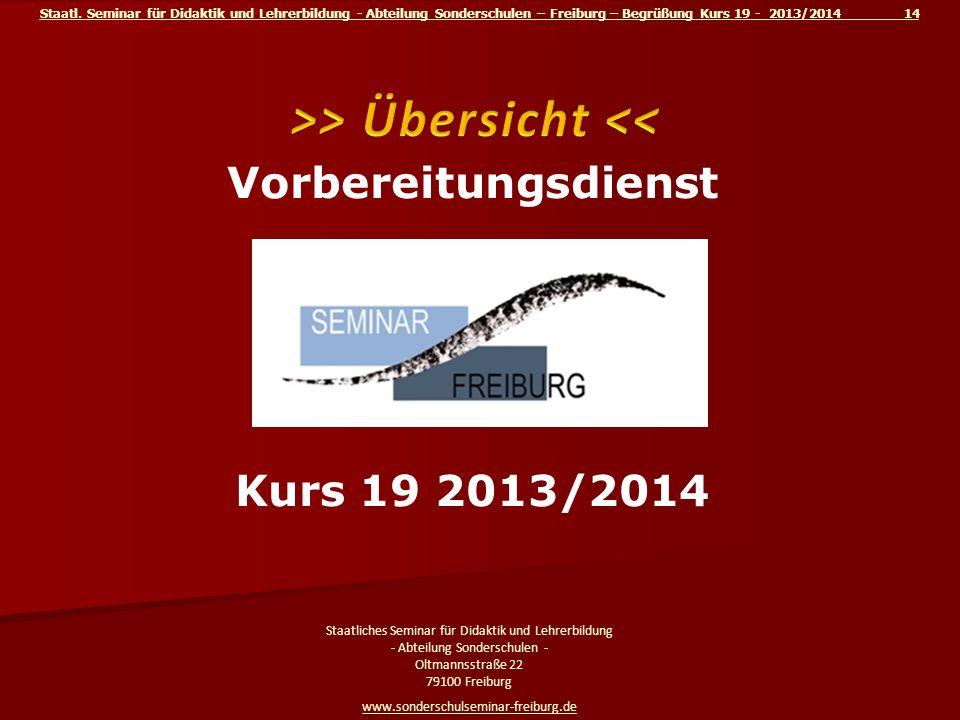 >> Übersicht << Vorbereitungsdienst am Kurs 19 2013/2014