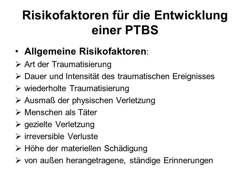 Risikofaktoren für die Entwicklung einer PTBS