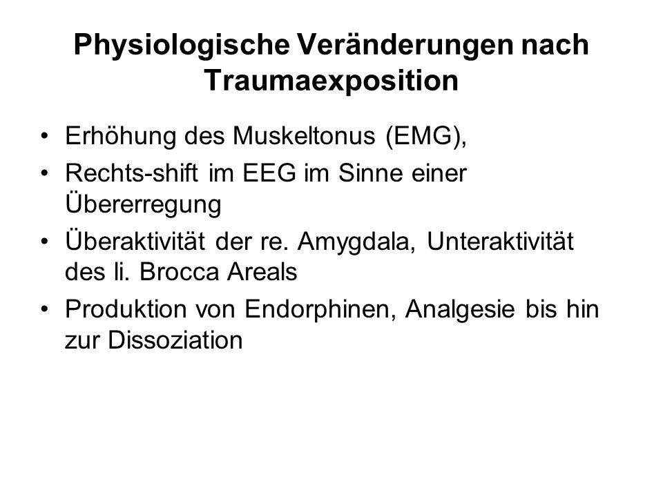 Physiologische Veränderungen nach Traumaexposition