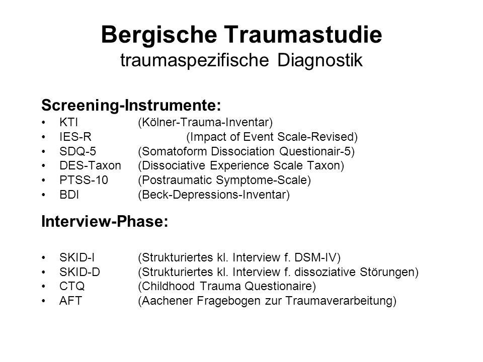 Bergische Traumastudie traumaspezifische Diagnostik