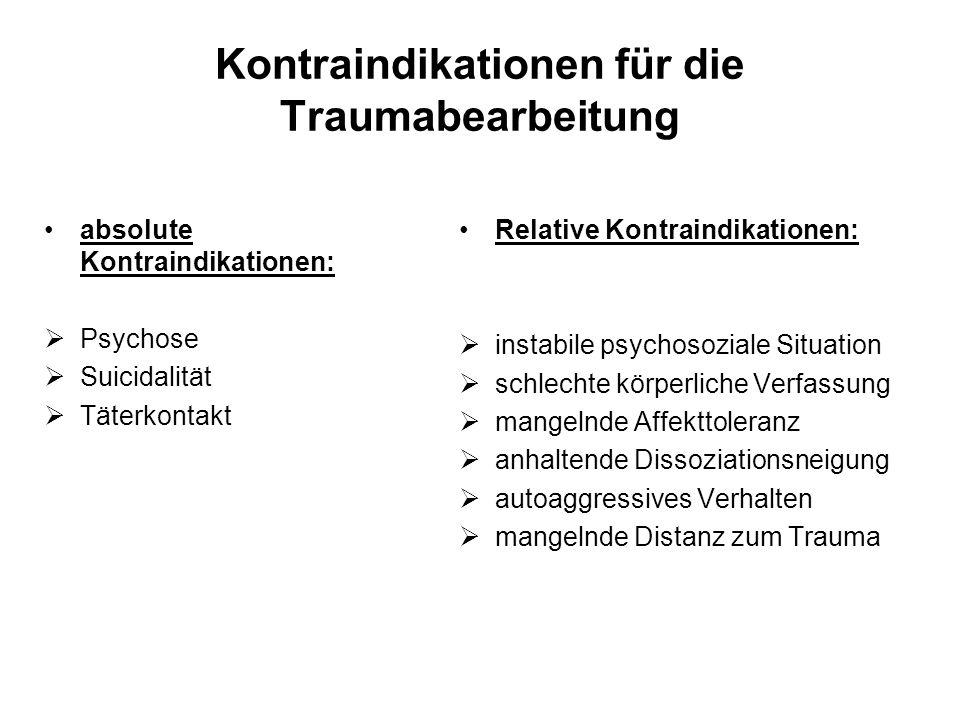 Kontraindikationen für die Traumabearbeitung