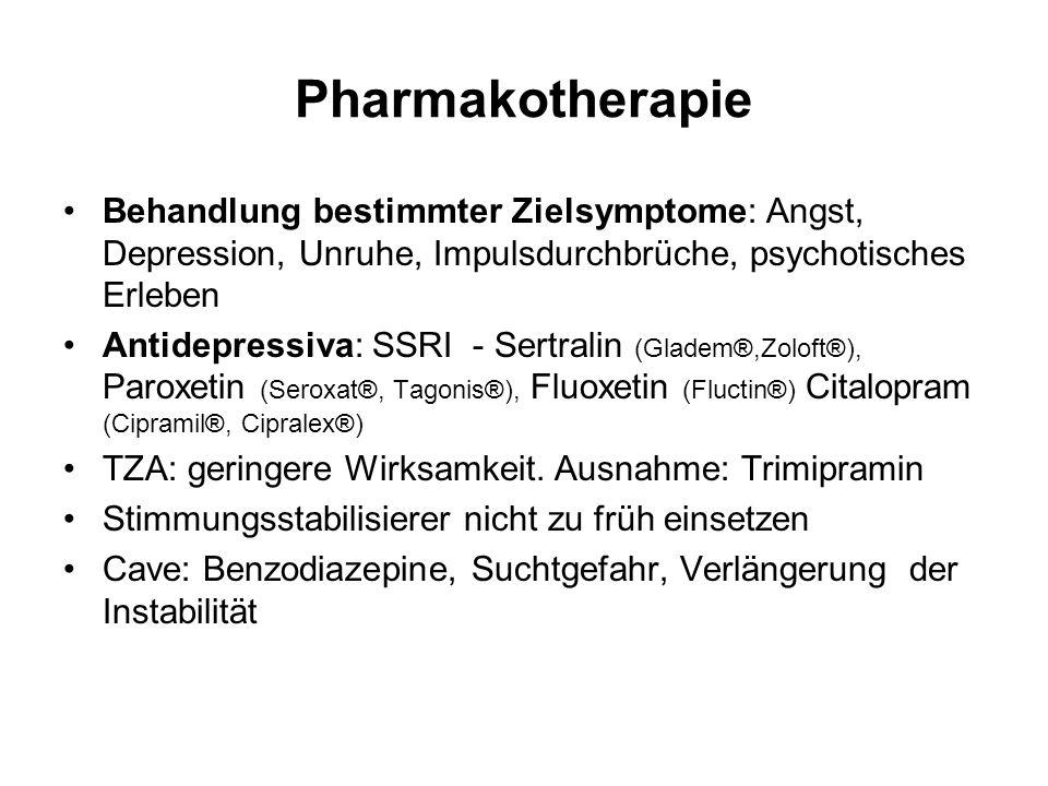 Pharmakotherapie Behandlung bestimmter Zielsymptome: Angst, Depression, Unruhe, Impulsdurchbrüche, psychotisches Erleben.